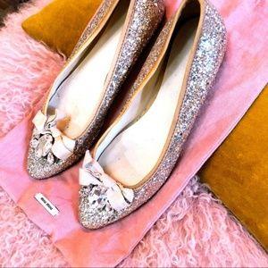 Miu Miu Silver Jeweled Glitter Ballerina Flats 6.5